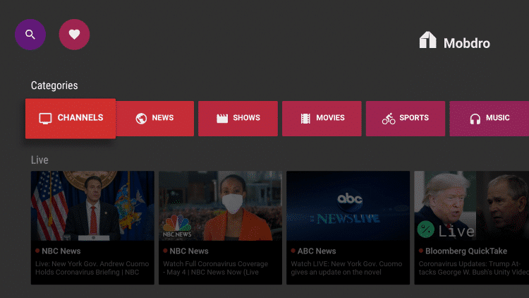 Mobdro Dashboard - Best Free IPTV Apps for Live TV Streaming