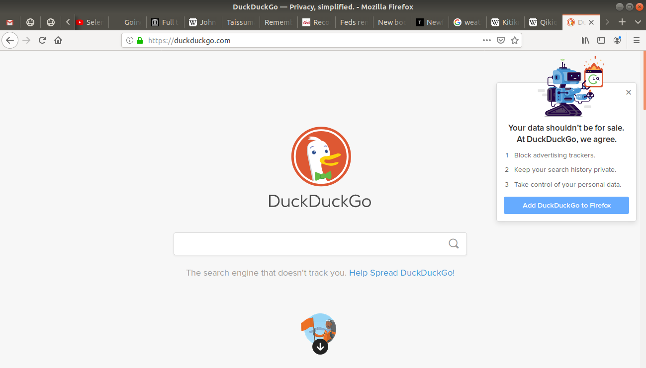 duckduckgo's main page open on browser