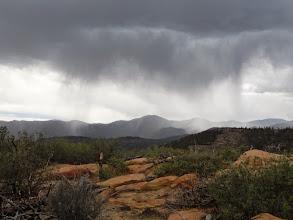 Photo: Serious rain dump in the distance.