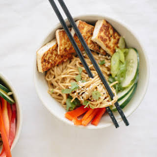 Soba Noodle Bowls with Tofu and Peanut Sauce.