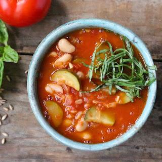 Tomato Soup with Zucchini, Farro and White Beans
