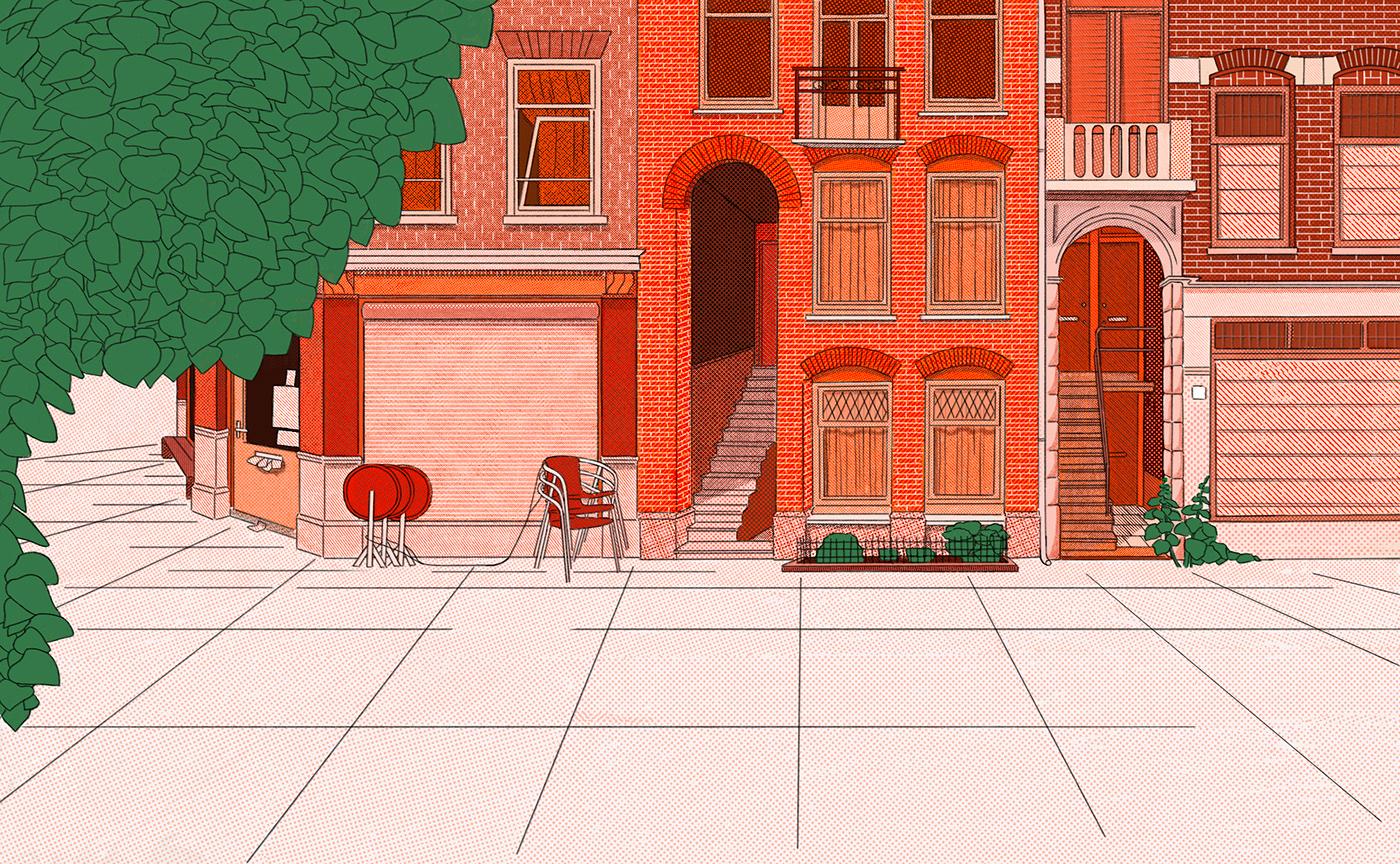 architecture coverart COVERILLUSTRATION DIGITALDRAWING Drawing  editorialillustration illustrations Interior Procreate volkskrant