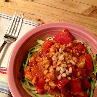 Zucchini Spaghetti with Tempeh Marinara Sauce