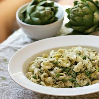 Pasta Artichokes Peas and Mint Pesto