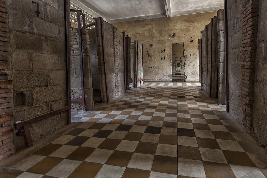 Cells of S-21 by Steve Badger - Buildings & Architecture Public & Historical ( s-21, prison, phnom penh, travel, khmer, cambodia )