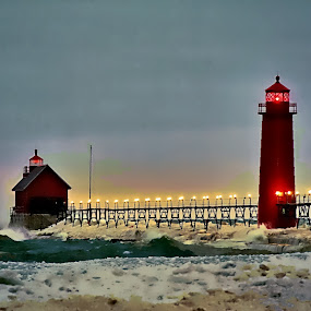 Grand Haven lighthouse by Patti Pappas - Buildings & Architecture Public & Historical ( water, red, cold, snow, lighthouse, lake michgian, night, frozen )