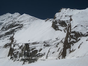 Photo: Sherpa's track can be seen on the wall/couloir from camp-II