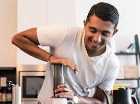 A man making coffee