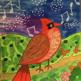Cardinal Song by Vijay Govender - Drawing All Drawing