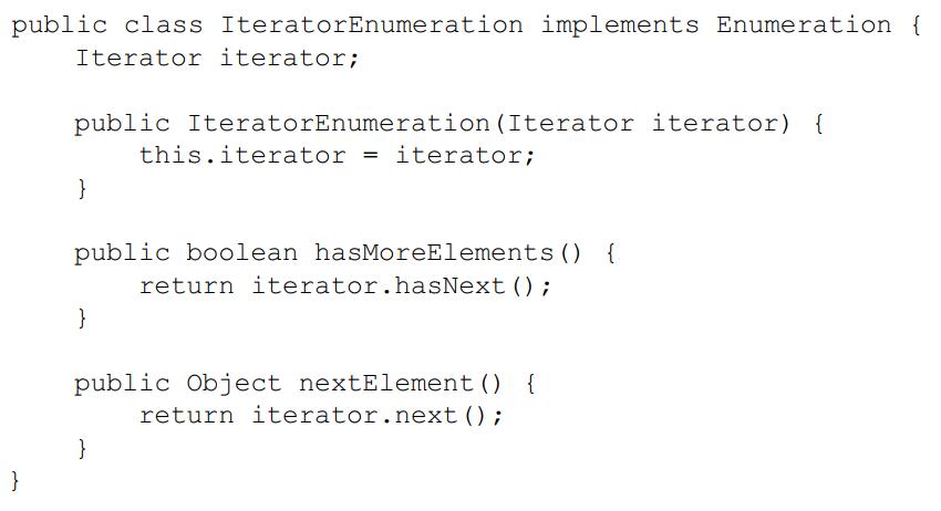 Đáp án Viết adapter EnumerationIterator