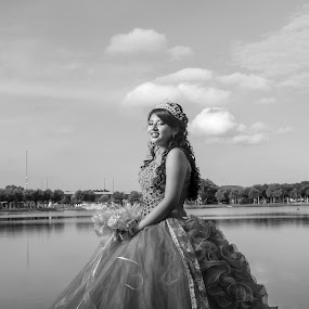 Quiceanera by Maurice Cheeks - Black & White Portraits & People ( quince, black and white, dress, tradition, quinceanera, people,  )