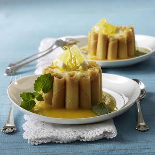 Lemon Mascarpone Charlotte Russes with Apricot Purée.