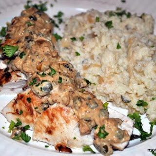 Chicken and Smashed Cauliflower With Greek Oregano Sauce