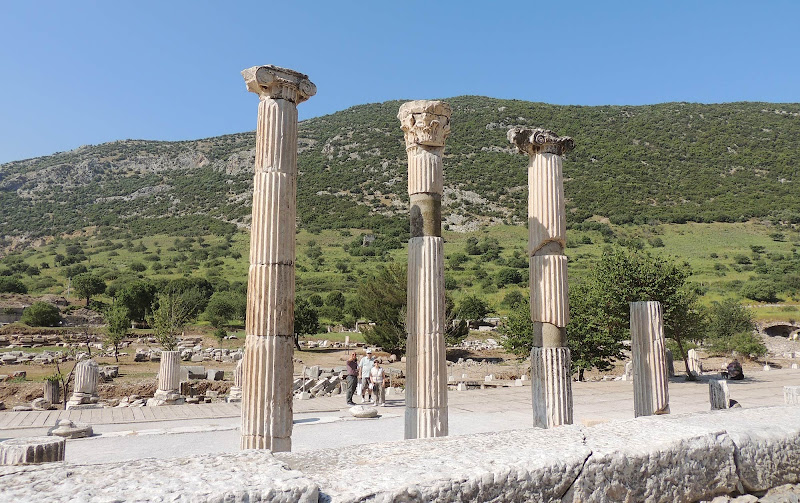 Ancient columns seen during a walking tour of Ephesus.