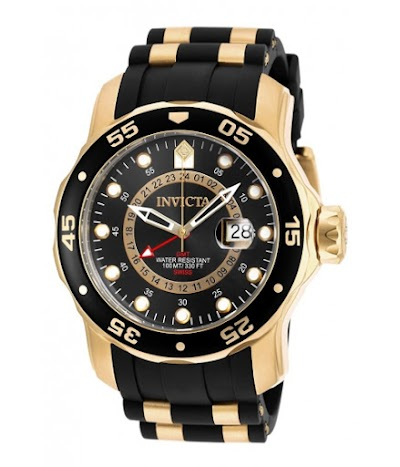 Ceasuri Barbati Invicta Watches Invicta Men's 6991 Pro Diver Collection GMT 18k Gold-Plated Stainless Steel Watch with Black Band BlackBlack