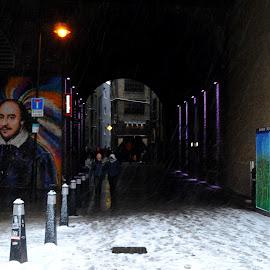 Shakespeare in the Clink by DJ Cockburn - City,  Street & Park  Street Scenes ( underpass, bank end, building, uk, william shakespeare, streetlight, snowstorm, southwark, street art, architecture, mural, cityscape, bankside, city, urban, england, subway, winter, pedestrian, london, blizzard, wagamama, tunnel, clink street )