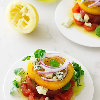 Heirloom Tomato Napoleon with Maytag Blue Cheese Crumbles.