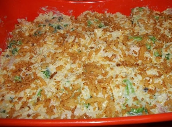 Pour the soup mixture over the chicken mixture and blend well.  Pour mixture into prepared...