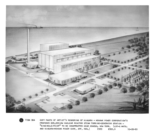 "Copy photo of artist's rendering of Niagara Mohawk Power Corporation's proposed 620,000-kw nuclear reactor steam turbine-generator station - ""Nine Mile Point"" to be constructed near Oswego, NY"