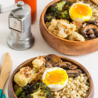 Parmesan Barley Bowl with Roasted Broccoli and a Soft Boiled Egg