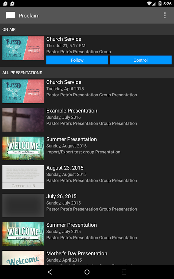 church presentation software android