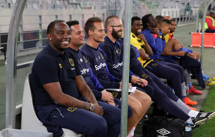 Cape Town City coach Benni McCarthy and his bench share a funny moment during the Absa Premiership match.