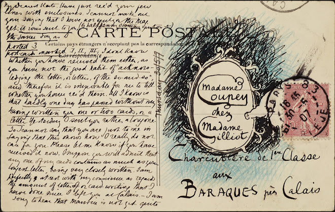 <p> <strong>L&eacute;on Coupey<br /> To Madame Coupey (Baraques)</strong><br /> Ink on card<br /> 3 &frac12;&quot; x 5 &frac12;&quot;<br /> 1907</p> <p> Collection Karim Barbir, Houston<br /> Estate of Marguerite Coupey Barbir, Montreal<br /> Set 3B.9&nbsp;</p>