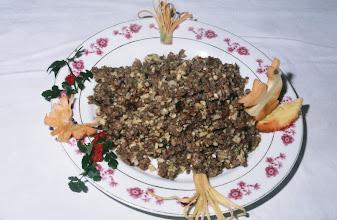 Photo: 04625 広州市/野味香飯店/料理/金華狗肉崧/金華地区名産のハムと犬肉、タケノコをみじん切りにして炒め煮にしたもの
