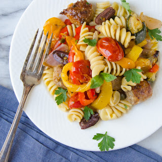 Roasted Italian Sausage, Veg And Pasta