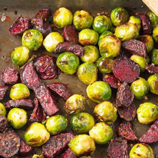 Roasted Brussels Sprouts With Beetroot, Chilli And Honey.