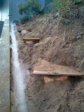 Photo: First rain of season (Saturday, September 21, 2013) provides example of the eroding hillside continuing to slip on the Hidden Garden Steps site (16th Avenue, between Kirkham and Lawton streets in San Francisco's Inner Sunset District). San Francisco Department of Public Works employees are in the final stages of creating erosion-control barriers on the hill before the Hidden Garden Steps 148-step ceramic-tile mosaic designed and created by artists Aileen Barr and Colette Crutcher is installed. For more information about this volunteer-driven community-based project supported by the San Francisco Parks Alliance, the San Francisco Department of Public Works Street Parks Program, and hundreds of individual donors, please visit our website at http://hiddengardensteps.org.
