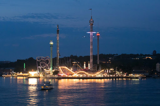 Gröna Lund, a seaside amusement park on Stockholm's Djurgården Island, at nightfall.
