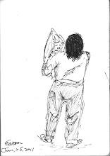 Photo: 慈母心2011.01.25鋼筆 女性收容人依法可帶嬰兒入監,但即使在宜蘭這樣合署辦公的單位,除非帶生病的孩子過來男監看診,不然是不可能看到的,只見小嬰兒才一離開媽媽的懷抱,就大聲哭鬧了起來,剛照完X光的母親慌忙衝下X光車,一把將孩子抱了過來,愛子之心溢於言表。