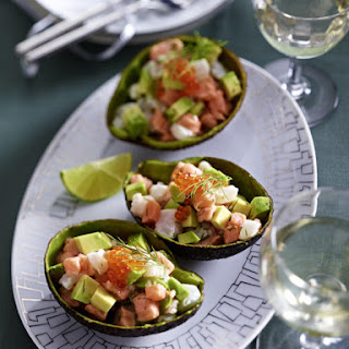Fish Tartare in Avocado Shells.