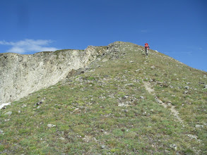 Photo: Steph nearing the pass (and the Continental Divide).