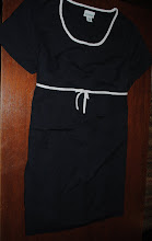 """Photo: SUPER CUTE Navy and White Empire Waisted Maternity Dress. Size 2X. LOVED this one. Wore with white sandals. Heavier """"suit"""" type material. great for work or special occasion. Shorter length falls above knees. $8"""