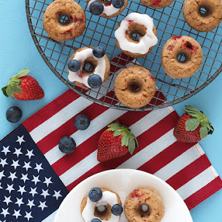 Red, White and Blue Baked Doughnuts