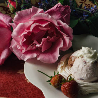 Meringue Nests With Strawberry Ice Cream And Vanilla Cream.