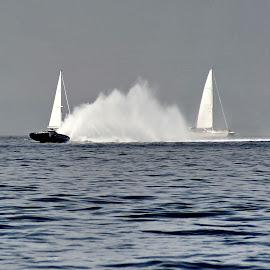 wind vs engine - sailing vs Class One by Bernarda Bizjak - Sports & Fitness Watersports (  )