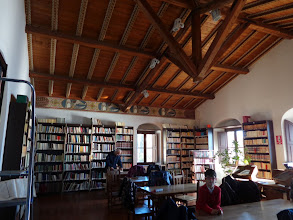 Photo: Inside Taomina's public library in former 16th century church of St Agostino