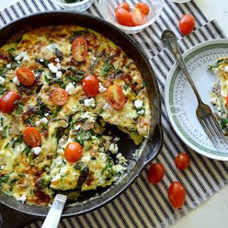 Chicken-Spinach Frittata with Feta & Tomatoes.