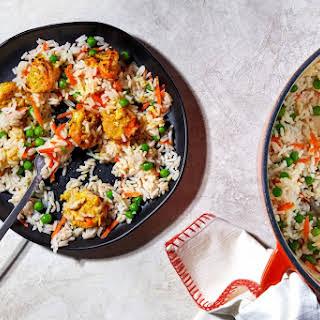 Tandoori-Style Shrimp With Rice and Peas.