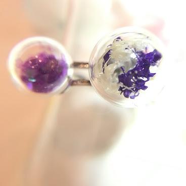 滿天星雙玻璃球戒指