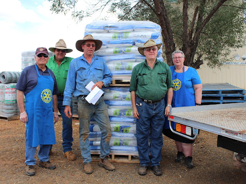 Boggabri Rotary Club members with the donated seed for distribution, Peter Hall, Michael Nott, Malcolm Donaldson, Phillip Haire and Robyn Skillen.