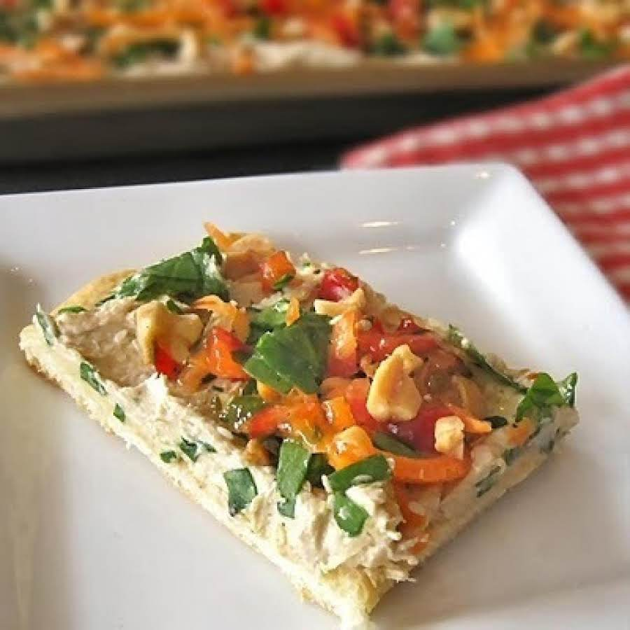 Chinesestyle Chicken Pizza Appetizer Recipe Just A Pinch