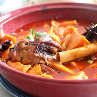 Roasted Asian Lamb Shanks with Sweet Potatoes.
