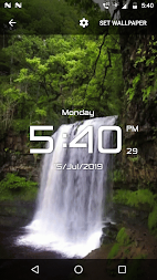 Waterfall digital clock live wallpaper APK screenshot thumbnail 2