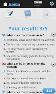 English Reading Test Screenshot