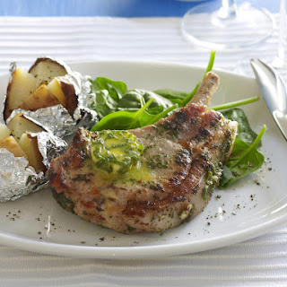 Pork Cutlets with Sage Butter and Baked Potatoes.