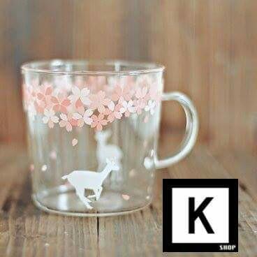日式櫻花玻璃杯 (配有木杯蓋及匙更)